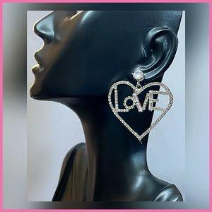 🏷 🆕 Noir Heart, Love Silver Gemstone Earrings